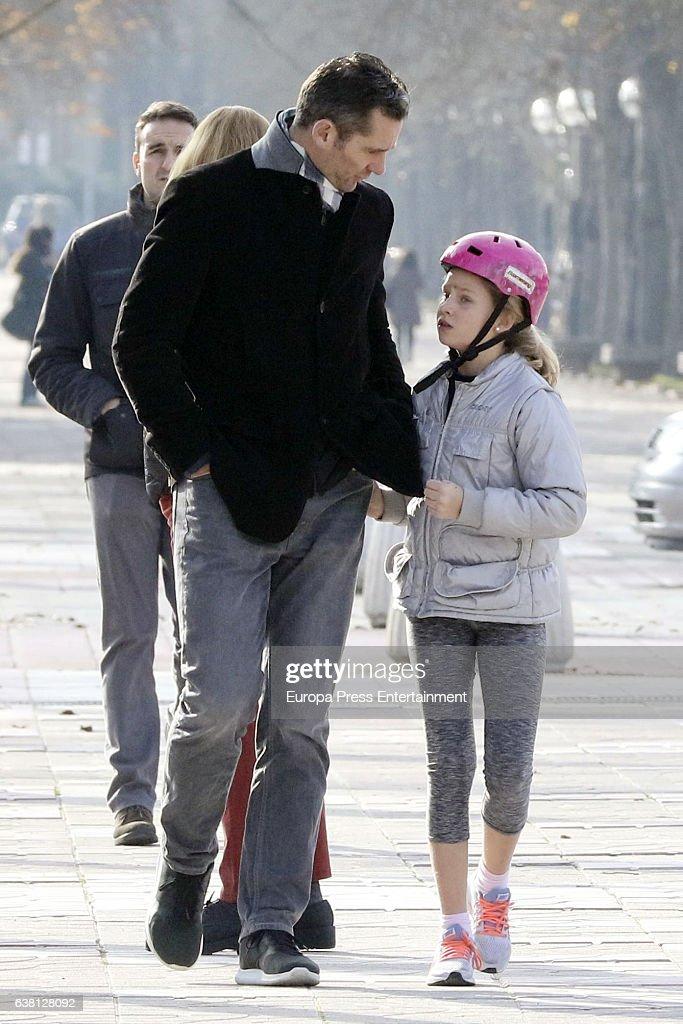 Inaki Urdangarin and his daughter Irene Urdangarin are seen on December 27, 2016 in Vitoria-Gasteiz, Spain.