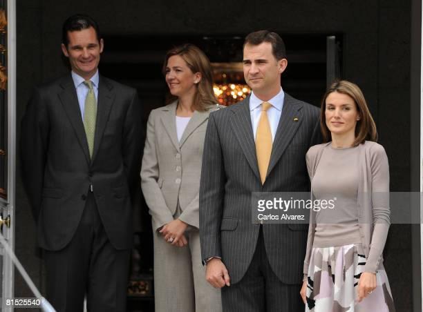Inaki Urdangarin, Duke of Palma de Mallorca, Princess Cristina, Crown Prince Felipe and Princess Letizia of Spain receive the Mexican President at...