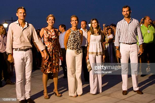 Inaki Urdangarin Infanta Cristina Infanta Elena of Spain Crown Princess Letizia of Spain and Crown Prince Felipe attend a prewedding reception at the...