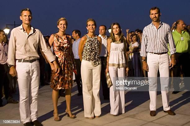 Inaki Urdangarin Infanta Cristina Infanta Elena of Spain Crown Princess Letizia of Spain and Crown Prince Felipe attend a prewedding reception at the...