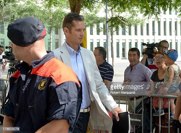 Inaki Urdangarin leaves the 'Ciutat de la Justica' after answering questions in front of a judge in regards to the 'Institut Noos' case on July 16...