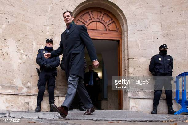 Inaki Urdangarin Princess Cristina husband leaves the courthouse of Palma de Mallorca after giving evidence during the during the 'Palma Arena trial'...