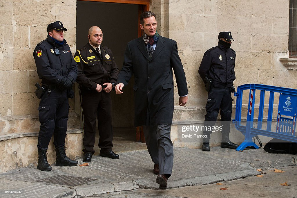 Inaki Urdangarin, Princess Cristina husband, leaves the courthouse of Palma de Mallorca after giving evidence during the during the 'Palma Arena trial' on February 23, 2013 in Palma de Mallorca, Spain. The son-in-law of King Juan Carlos of Spain, Inaki Urdangarin, Duke of Palma will testify in court over allegations that he misused millions of euros of public funds, allocated to organise sports and tourism events, during his time a chairman of a non-profit foundation from 2004 to 2006. Public prosecutors suspect the non-profit foundation named 'Instituo Noos', headed by Urdangarin, of siphoning away funds from public contracts awarded to companies run by Urdangarin and his business partners.