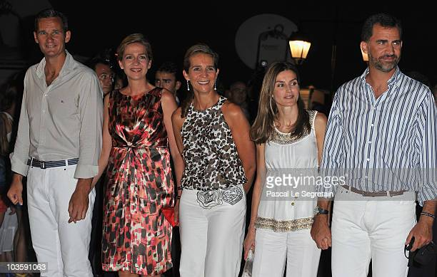 Inaki Urdangarin, Princess Cristina of Spain, Princess Elena of Spain, Princess Letizia of Spain and Prince Felipe of Spain pose as they arrive at...