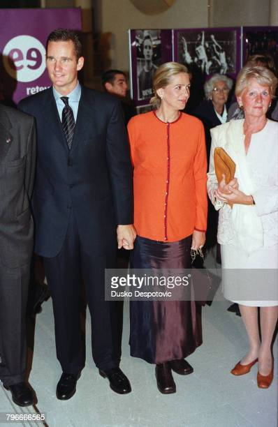 Inaki Urdangarin Spain's best handballplayer with his wife Infanta Cristina and his mother Claire Liebaert