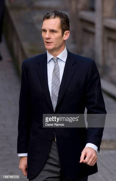 Inaki Urdangarin the husband of Princess Cristina arrives at the courthouse of Palma de Mallorca to give evidence during the 'Palma Arena trial' on...