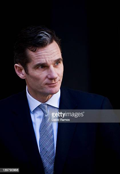 Inaki Urdangarin the husband of Princess Cristina leaves the courthouse of Palma de Mallorca after giving evidence during the morning sesion during...