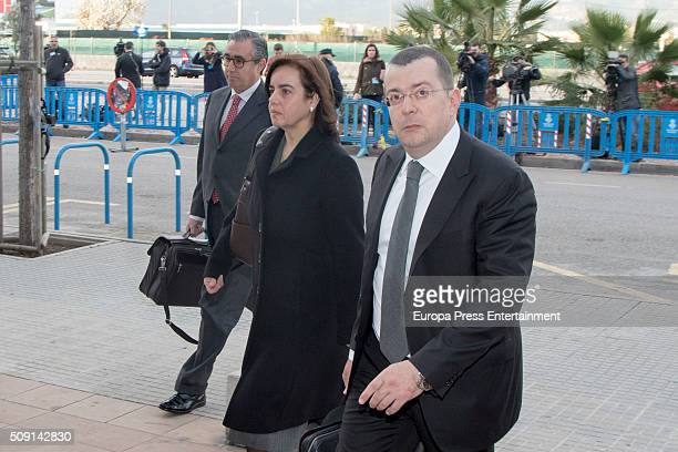 Inaki Urdangarin's ex partner Diego Torres his wife Ana Maria Tejeiro and their lawyer Manuel Gonzalez Peeters arrive at the courtroom at the...