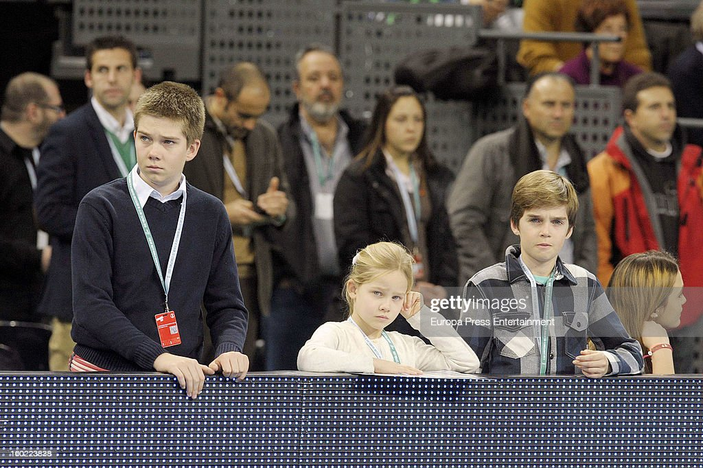 Inaki Urdangarin's kids Juan Valentin Urdangarin (L), Irene Urdangarin (C) and Miguel Urdangarín (R) attend the Men's Handball World Championship 2013 final match between Spain and Denmark at Palau Sant Jordi on January 27, 2013 in Barcelona, Spain.