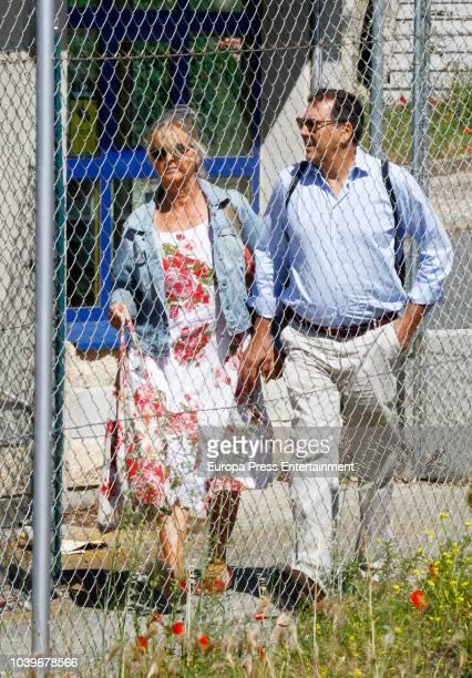 Inaki Urdangarin's sister Ana Urdangarin and her husband Carles Gui are seen visiting Inaki Urdangarin at prison on July 1 2018 in Brieva Spain