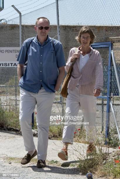 Inaki Urdangarin's sister Clara Urdangarin and husband are seen visiting Inaki Urdangarin at prison on July 7 2018 in Brieva Spain