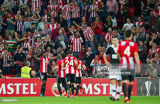 Inaki Willams of Athletic Club celebrates after scoring during the UEFA Europa League match between Athletic Club and FK Partizan at San Mames...