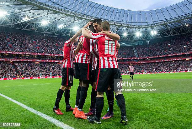 Inaki Willams of Athletic Club celebrates after scoring his team's second goal during the La Liga match between Athletic Club Bilbao and SD Eibar at...