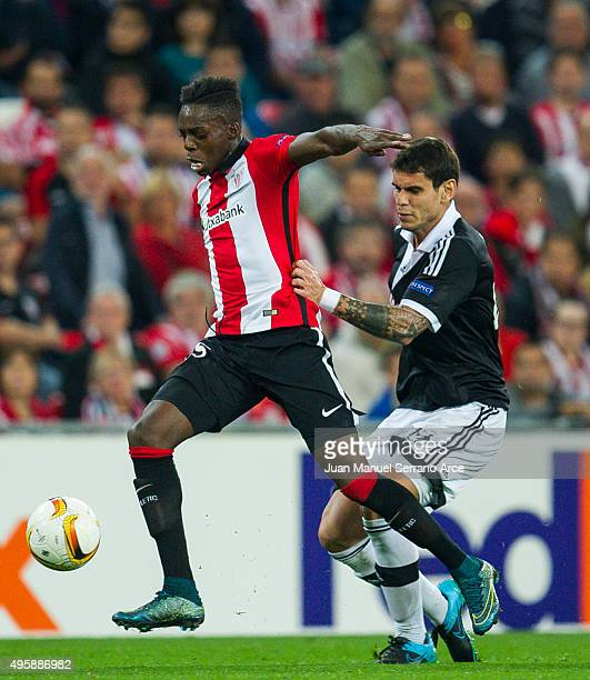 Inaki Willams of Athletic Club duels for the ball with AFabricio of FK Partizan during the UEFA Europa League match between Athletic Club and FK...
