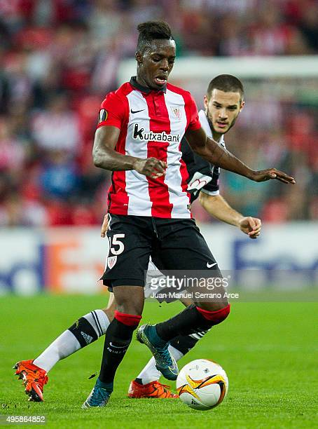 Inaki Willams of Athletic Club duels for the ball with Aleksandar Subic of FK Partizan during the UEFA Europa League match between Athletic Club and...