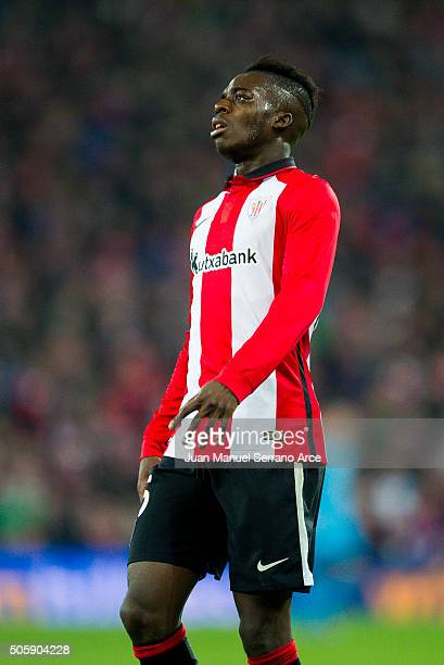 Inaki Willams of Athletic Club reacts during the Copa del Rey Quarter Final First Leg match between Athletic Club and FC Barcelola at San Mames...