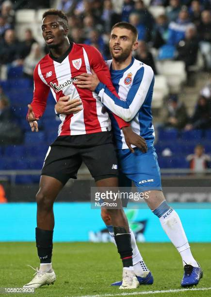 Inaki Williams and David Lopez during the match between RCD Espanyol and Athletic Club Bilbao corresponding to the week 11 of que spanish league...