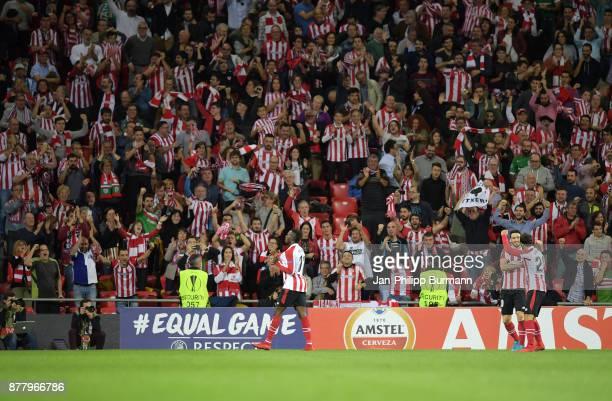 Inaki Williams Aritz Aduriz and Mikel Balenziaga of Athletic Bilbao celebrate after scoring the 32 during the game between Athletic Bilbao and Hertha...