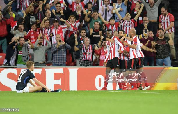 Inaki Williams Aritz Aduriz Mikel Balenziaga and Mikel Rico of Athletic Bilbao celebrate after scoring the 23 during the UEFA Europe League Group J...