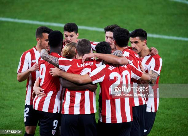 Inaki Williams, Inigo Martinez and Asier Villalibre of Athletic Bilbao celebrate their first goal which came through a Victor Ruiz of Real Betis own...