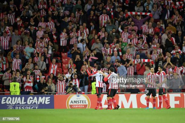 Inaki Williams Mikel Balenziaga Aritz Aduriz and Mikel Balenziaga of Athletic Bilbao celebrate after scoring the 32 during the game between Athletic...