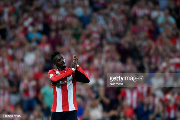 Inaki Williams of Athletic applauds his supporters during the Liga match between Athletic Club and Real Sociedad at San Mames Stadium on August 30...