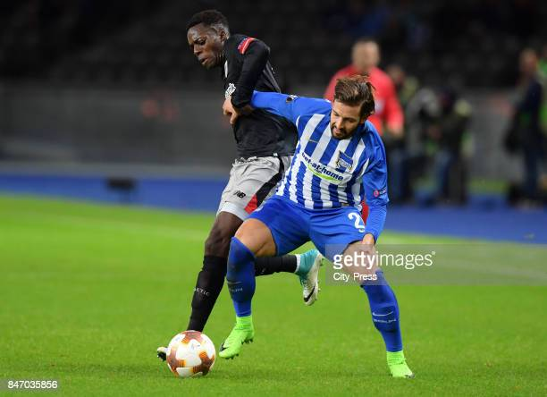Inaki Williams of Athletic Bilbao and Marvin Plattenhardt of Hertha BSC during the game between Hertha BSC and Athletic Bilbao on september 14 2017...