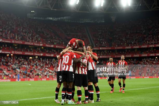 Inaki Williams of Athletic Bilbao celebrates after scoring their team's second goal during the LaLiga Santander match between Athletic Club and RCD...
