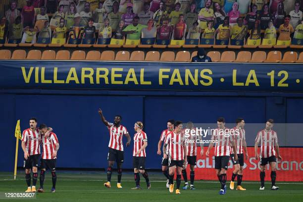 Inaki Williams of Athletic Bilbao celebrates with teammates after scoring their team's first goal during the La Liga Santander match between...