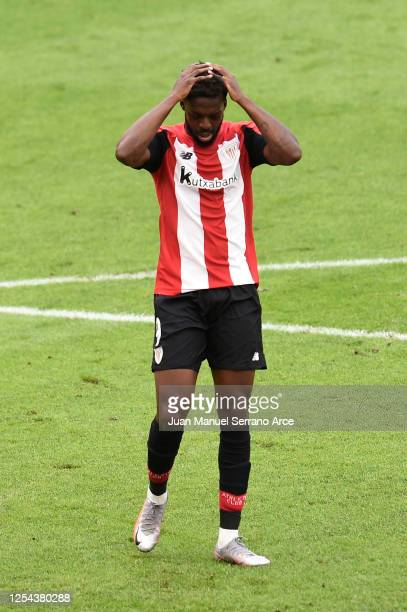 Inaki Williams of Athletic Bilbao reacts during the La Liga match between Athletic Club and Real Madrid CF at San Mames Stadium on July 05 2020 in...