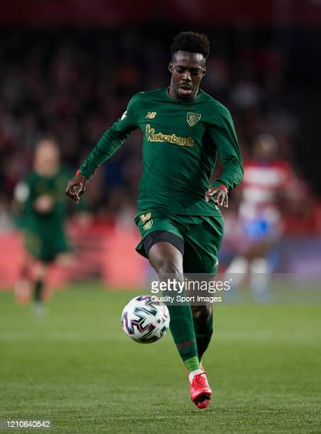 Inaki Williams of Athletic Bilbao runs with the ball during the Copa del Rey Semi Final second leg match between Granada CF and Athletic Club at...