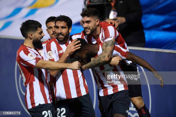 Inaki Williams of Athletic celebrates after scoring his sides first goal during the round of 16 of the Copa del Rey between CD Alcoyano and Athletic...