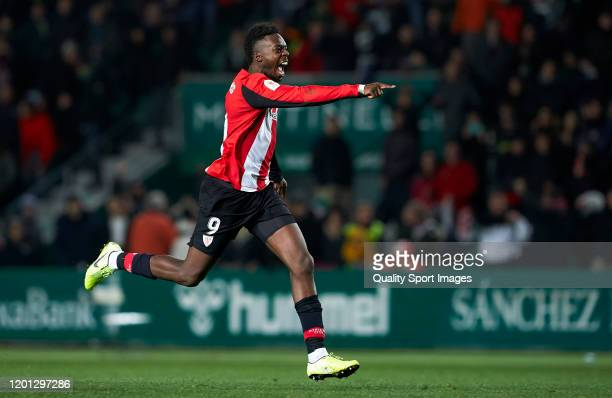 Inaki Williams of Athletic Club celebrates after beating Elche CF 6 - 5 on Penalties during the Copa del Rey round of 32 match between Elche CF and...