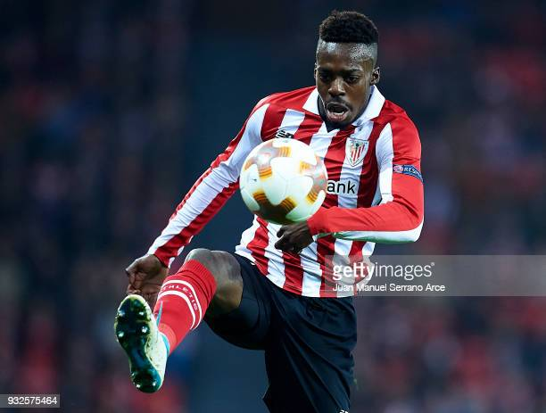 Inaki Williams of Athletic Club controls the ball during UEFA Europa League Round of 16 match between Athletic Club Bilbao and Olympique Marseille at...