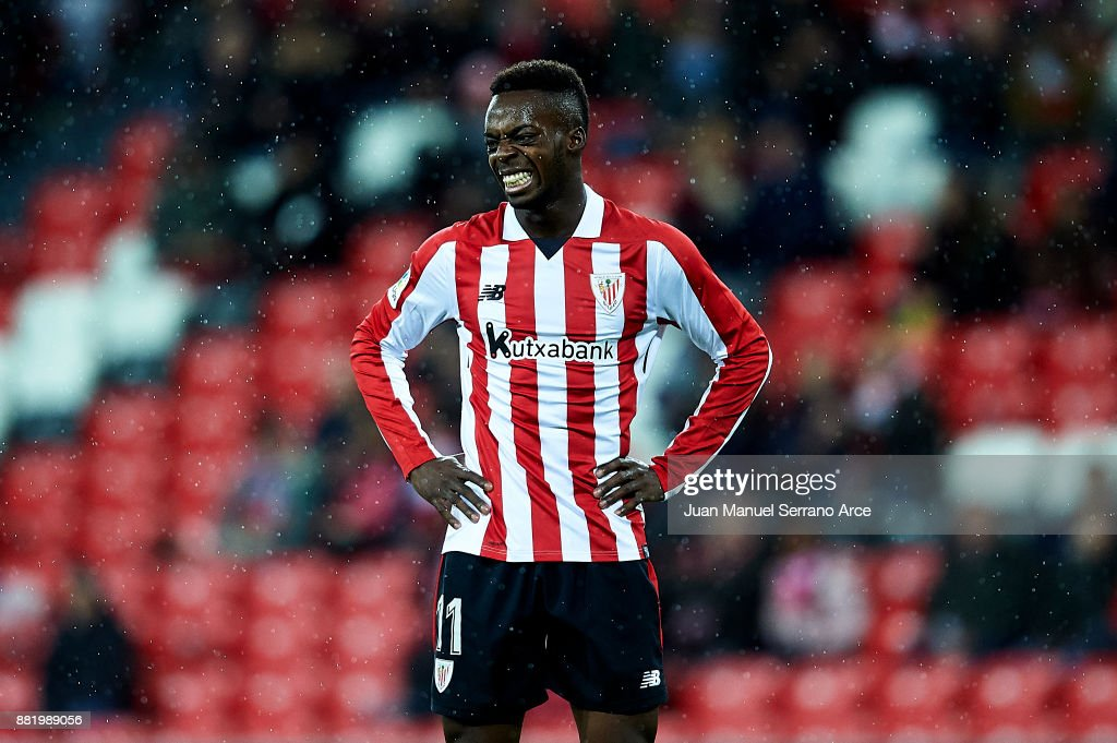 Inaki Williams of Athletic Club reacts during the Copa del Rey, Round of 32, Second Leg match between Athletic Club and SD Formentera at San Mames Stadium on November 29, 2017 in Bilbao, Spain.