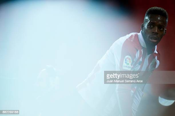 Inaki Williams of Athletic Club reacts during the Copa del Rey Round of 32 Second Leg match between Athletic Club and SD Formentera at San Mames...