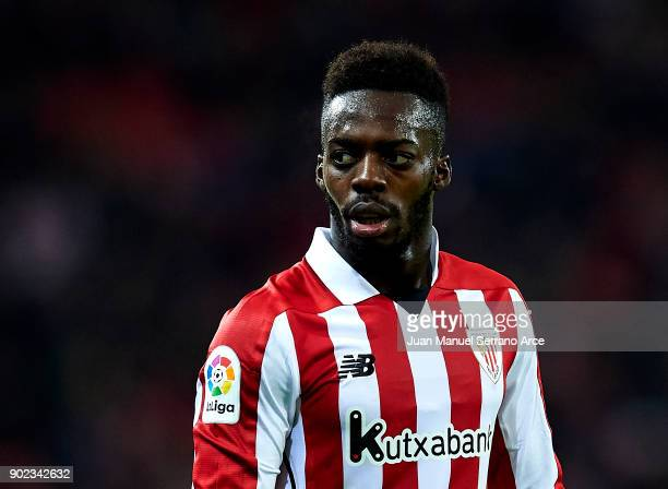 Inaki Williams of Athletic Club reacts during the La Liga match between Athletic Club Bilbao and Deportivo Alaves at San Mames Stadium on January 7...
