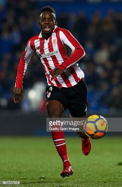Inaki Williams of Athletic Club runs with the ball during the La Liga match between Getafe and Athletic Club at Coliseum Alfonso Perez on January 19...