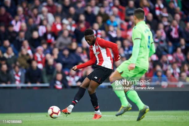 Inaki Williams of Athletic Club scoring his team's second goal during the La Liga match between Athletic Club and Levante UD at San Mames Stadium on...