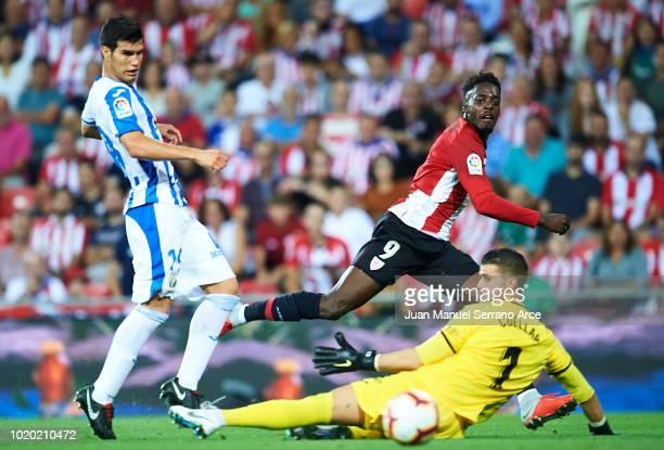 Nabil El Zhar of Leganes Unai Lopez of Athletic Bilbao during the La Liga Santander match between Athletic de Bilbao v Leganes at the Estadio San...