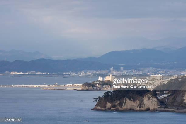 Inamuragasaki in Kamakura city and Sagami Bay, Northern Pacific Ocean in Kanagawa prefecture in Japan