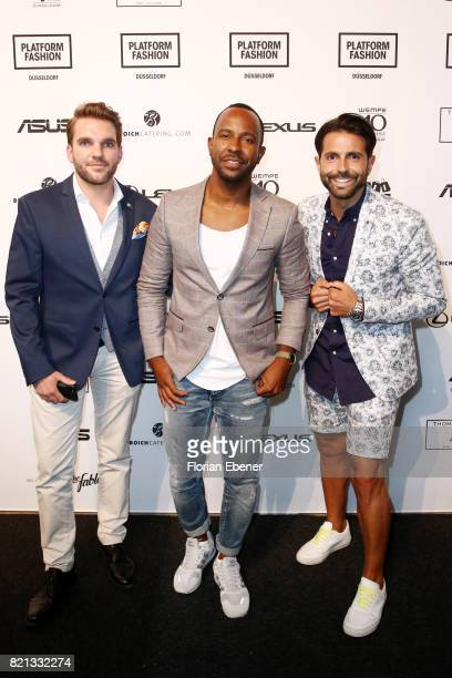 Inan Lima and Serhat Yilmaz designer and owner of his Fashion Label Serfan and guest attends the Thomas Rath show during Platform Fashion July 2017...