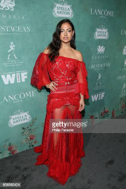 Inanna Sarkis attends the 11th annual celebration of the 2018 Female Oscar nominees presented by Women in Film at Crustacean on March 2 2018 in...