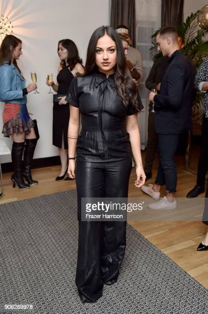Inanna Sarkis attends the Wolk Morais Collection 6 Fashion Show at The Hollywood Roosevelt Hotel on January 17, 2018 in Los Angeles, California.