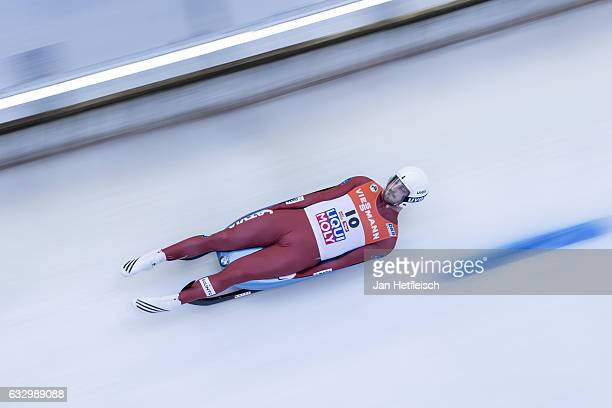 Inars Kivlenieks of Latvia competes in the first heat of the Men's Luge competition during the third day of the FILWorld Championships at...
