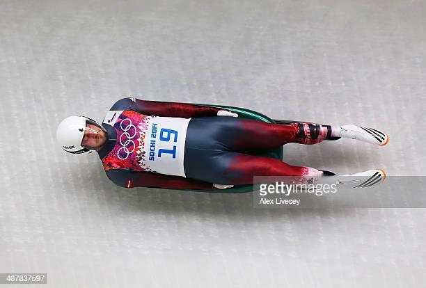 Inars Kivlenieks of Latvia makes a run during the Luge Men's Singles on Day 1 of the Sochi 2014 Winter Olympics at the Sliding Center Sanki on...