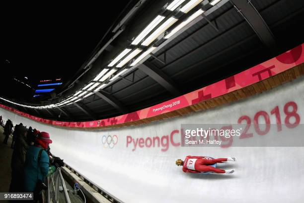 Inars Kivlenieks of Latvia slides in run 4 during the Luge Men's Singles on day two of the PyeongChang 2018 Winter Olympic Games at Olympic Sliding...