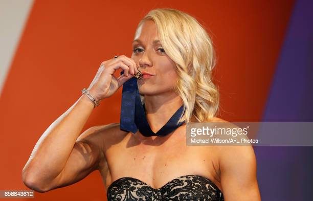 Inaugural AFLW Best and Fairest winner Erin Phillips of the Crows poses for a photograph during the The W Awards at the Peninsula on March 28 2017 in...