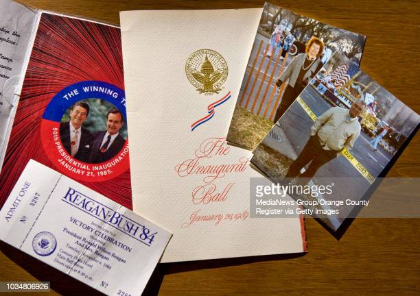 Inaugural memorabilia from Presidents Regan and Bush are shown with photos of Newport Beach residents Gloria and Bob Montes right at the 1989...