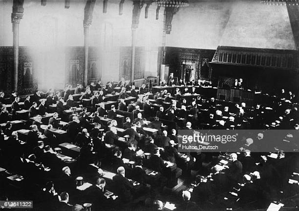 Inaugural session of the international anti-war conference at The Hague in 1907